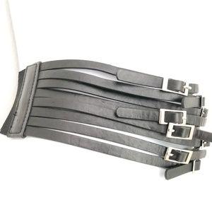 Body central new black stretchy wide belt M L